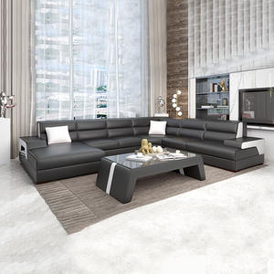 Living room furniture leather sectional sofa warm sofa set with side table