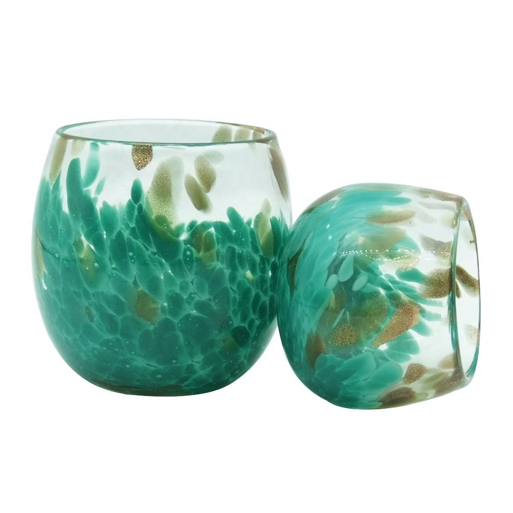 wedding 6.8oz and 18.7oz empty green glass candle holders with lids and jars wholesale Haodexin