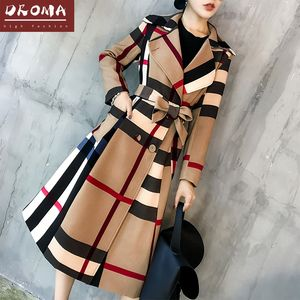 Droma In Stock Amazon Europe and American Style Hot Sale High Quality New Color Matching Autumn Fashion Long Elegant Women Coat