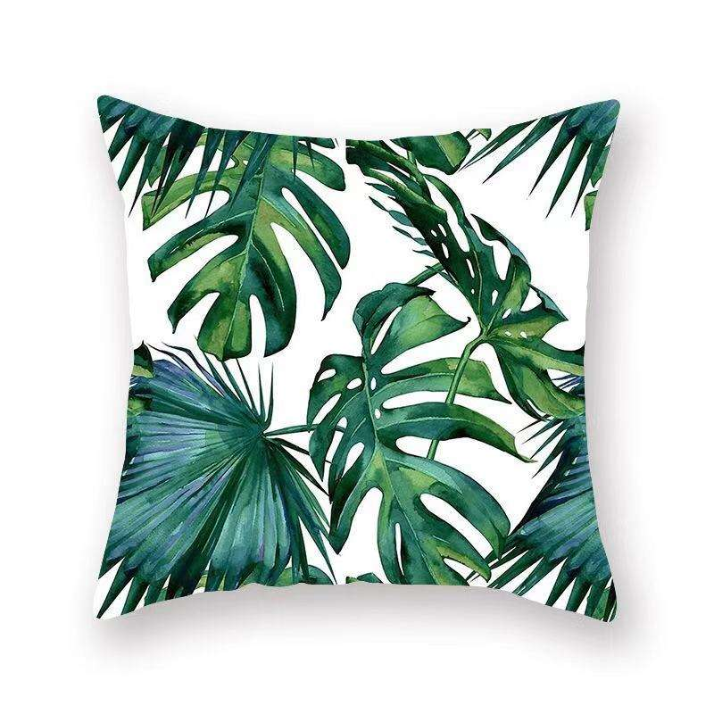 Ins Hot Sale polyester tropical leaves style decorative throw bath pillow