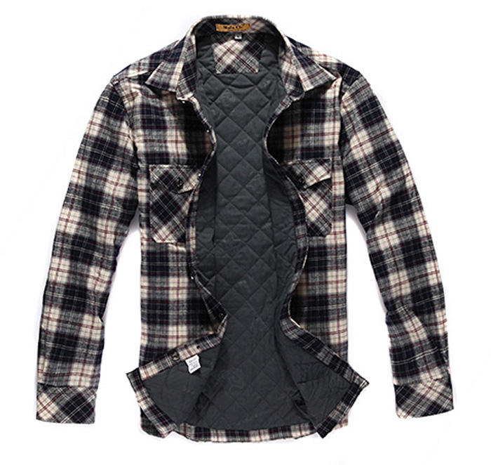 Mens quilted flannel shirts checked long sleeve winter plaid lined shirt