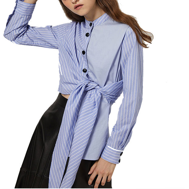 2020 Newest women clothing patchwork Front Button Bow-tie White and Blue Stripe Women Blouse
