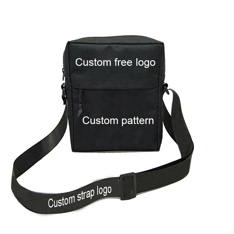 Custom Free Logo Strap 600D Polyester Sports Small Casual Women Square Sling Cross Body Bag Unisex Men Shoulder Bag For Outdoor