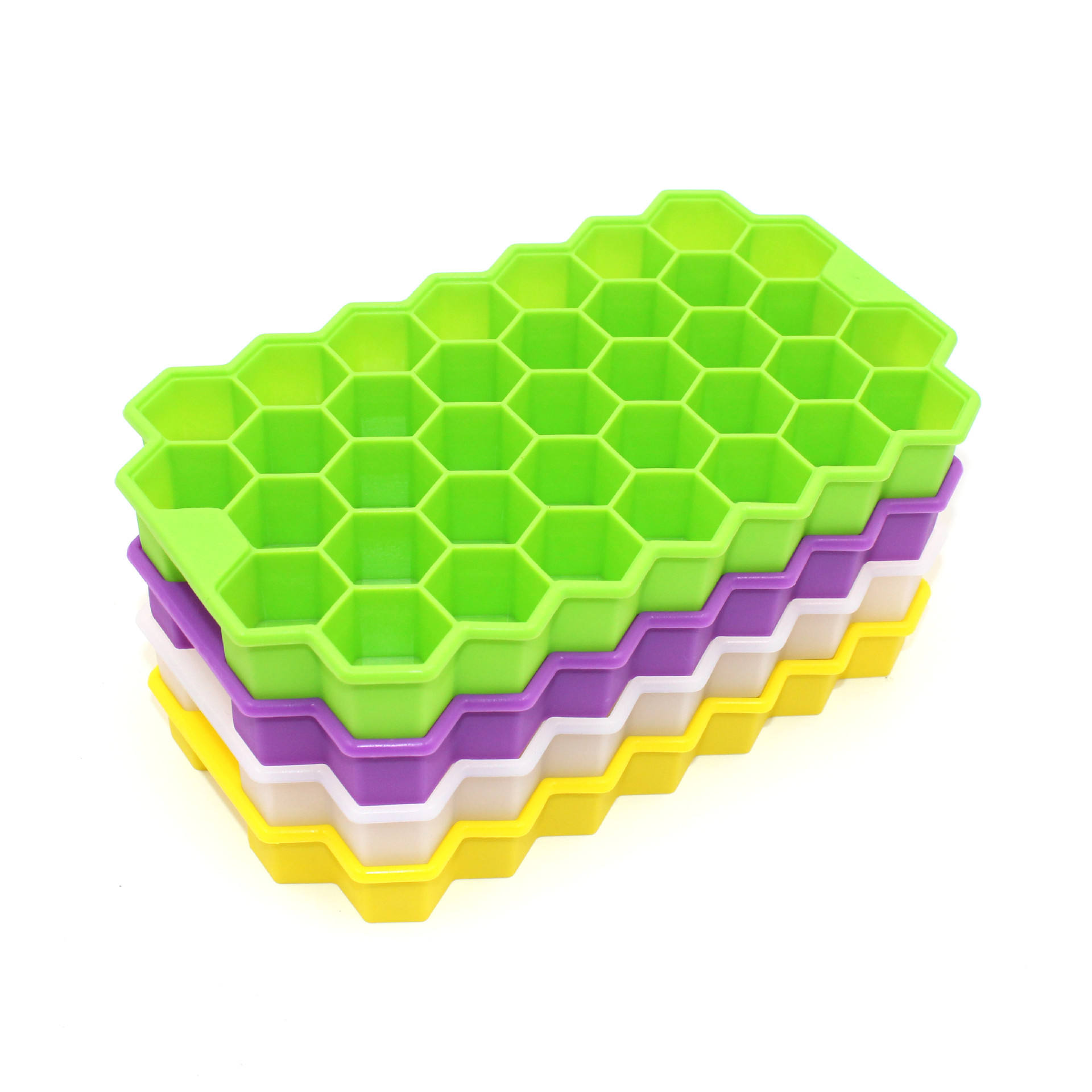 21*12.5*2.5cm 37 cavities Yellow Green Purple White Silicone Honeycomb Ice Cube Trays without lids