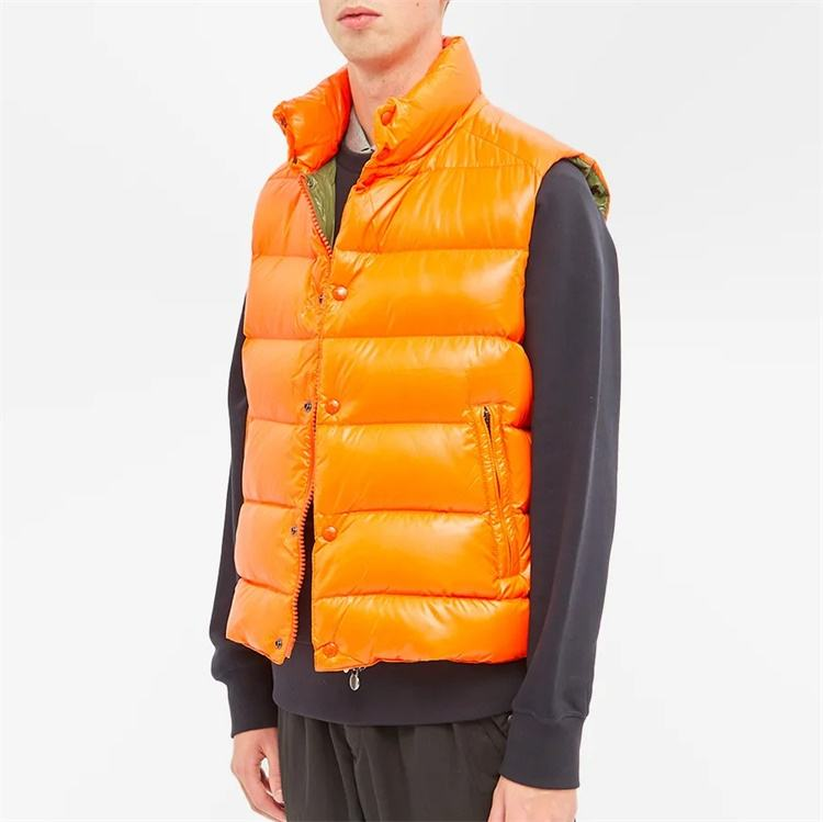 Custom winter windbreaker plain neon orange down puffer vest for men