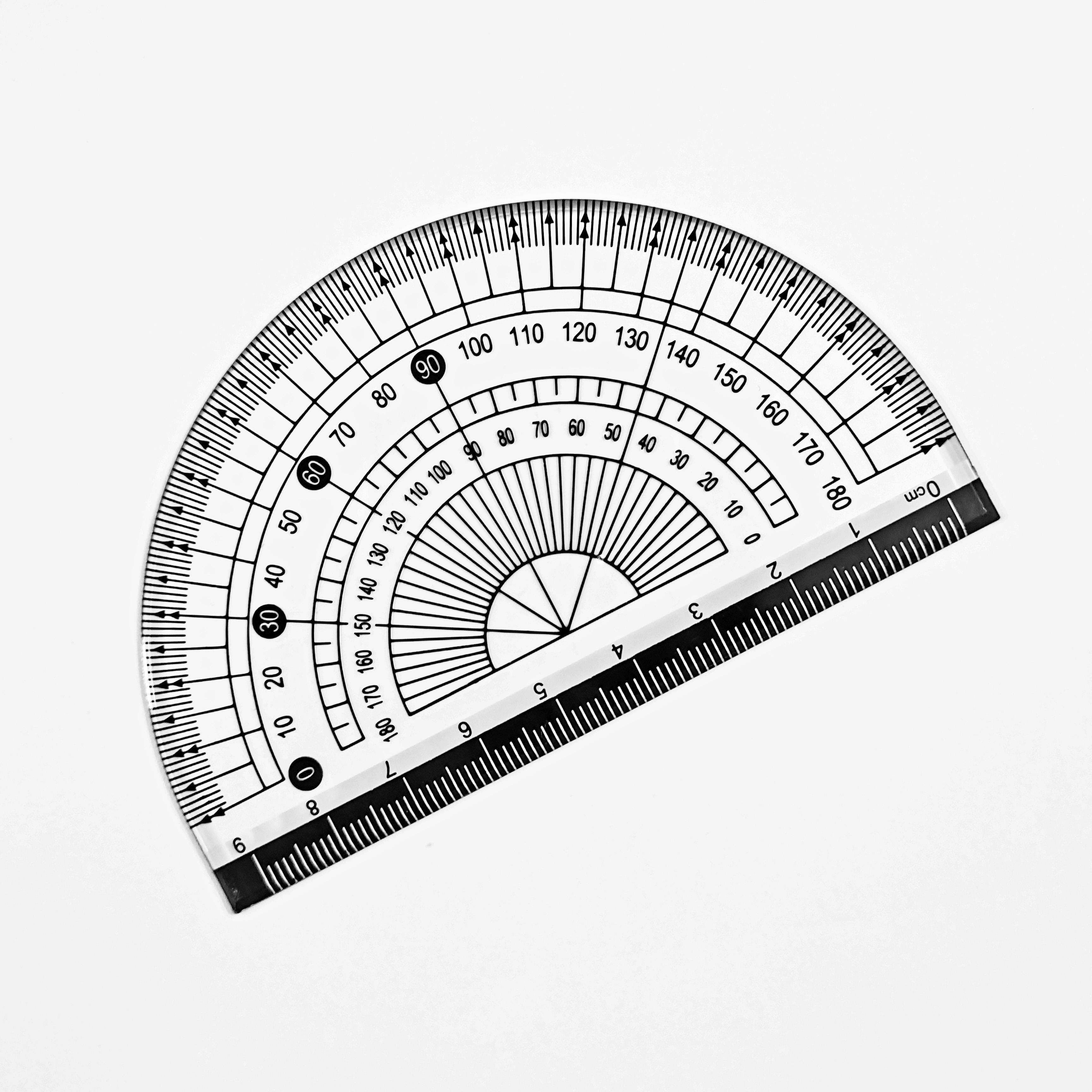 School Supply High Quality Geometric Measuring Tools 4PCS Ruler Set With 360 Degree Protractor