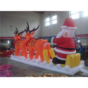 6m*3m Inflatable Christmas Decoration Inflatable Santa Claus on Train