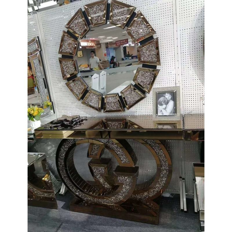 New design American style glass and brown MDF console table with special mirror for home furniture