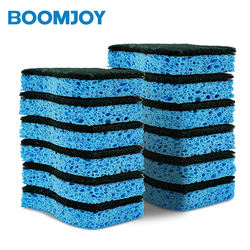Boomjoy strong cleaning rubber foam and sponge with scouring