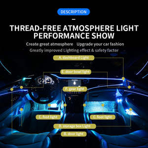 2021 New arrival atmosphere wireless car interior lights inside car led strip light ambient