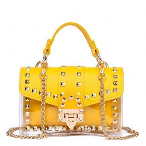 Hot 2020 Wholesale Candy Color Luxury Clear PVC Handbag Rivet Jelly Transparent Tote Purses for Women