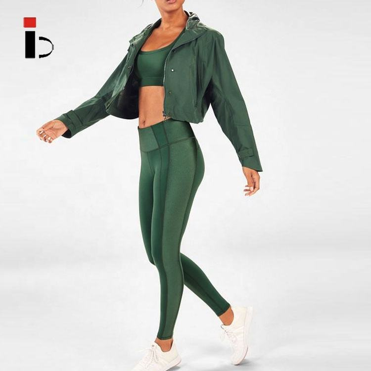 Fitness clothing woman yoga gym high waist leggings green 3 piece sports sets