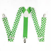 St.patrick's Party Decoration Shamrock Print Green Suspender Irish Day Costume Accessories