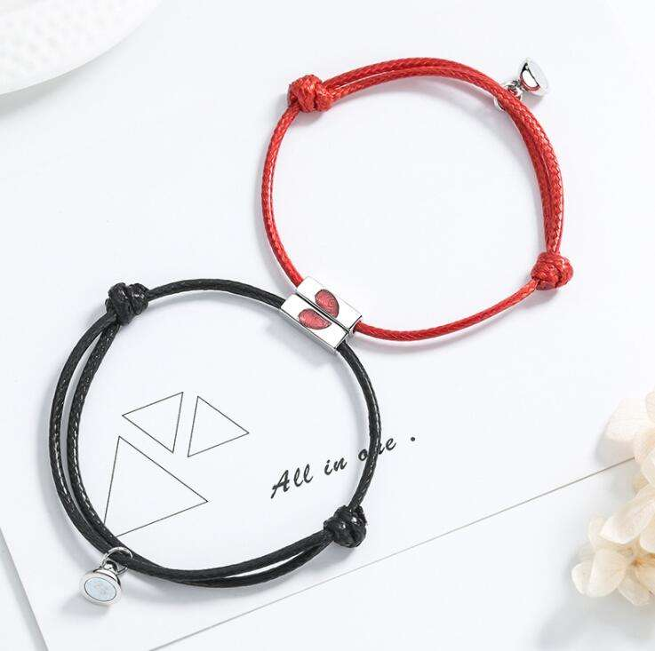 Magnet bracelet Valentine's Day accessories braided rope lovers jewelry red heart rope bracelets for couples