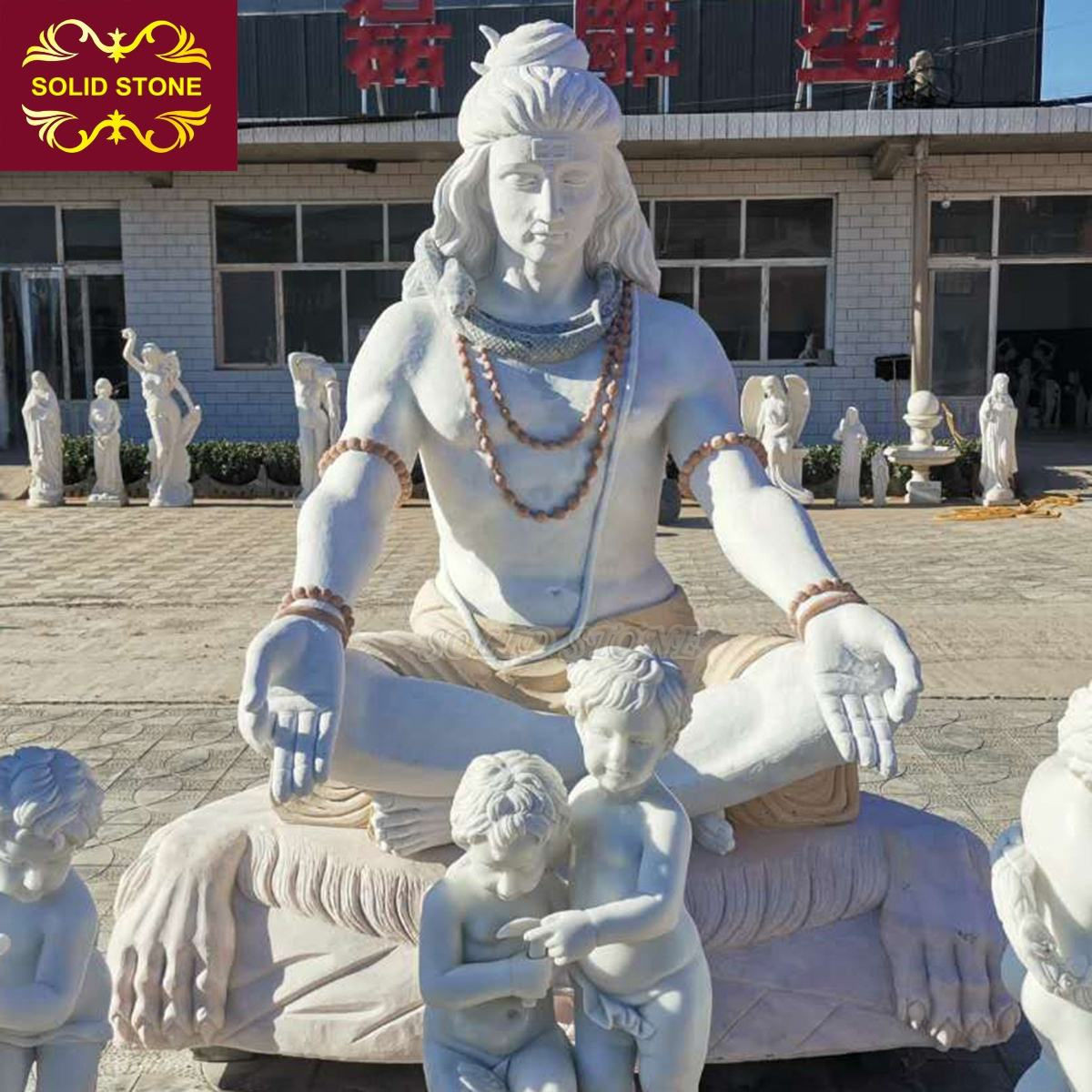 High quality life size garden decorative mixed color marble lord shiva statue for sale