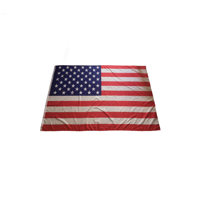 Wholesales 5x8 Ft silk screen printing two brass grommets 68D polyester Fast Shipping big size stitched red american USA flag
