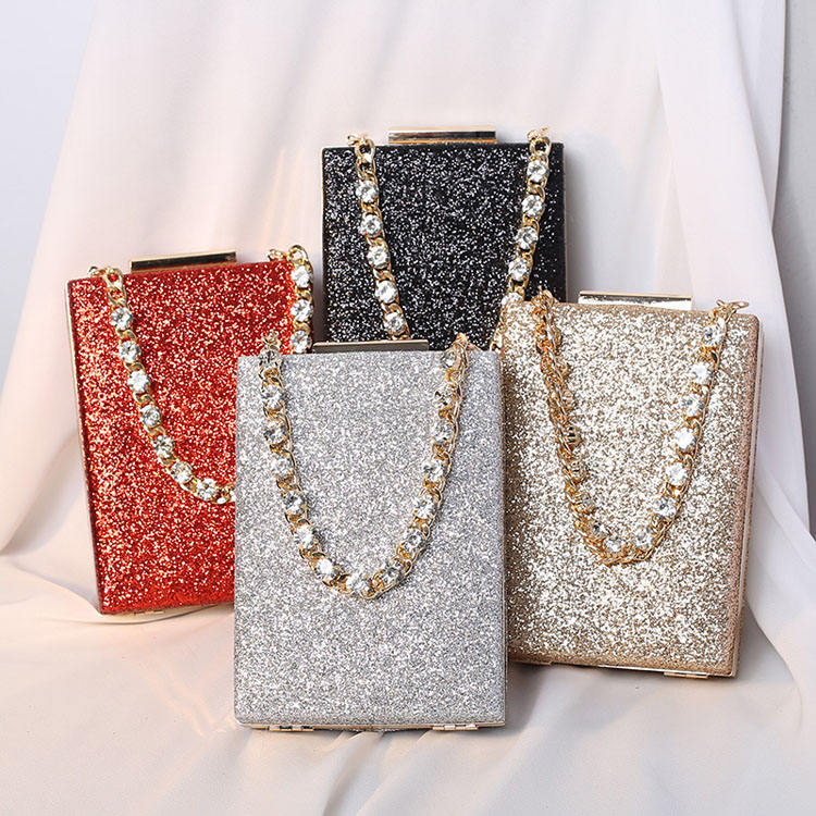 Clutch Dinner Bag 2021 New Rhinestone Chain Messenger Small Square Bag Women Celebrity Banquet Bag