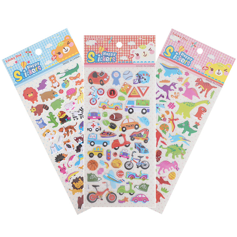 High Quality Bulk Reusable Kids Cartoon Animals 3D Puffy Stickers For Decoration