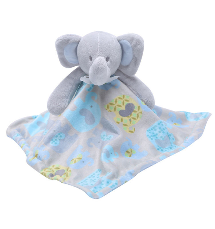 China Manufacturer Factory Price Embroidery Cute Stuffed plush Animal Custom Elephant Baby Towel