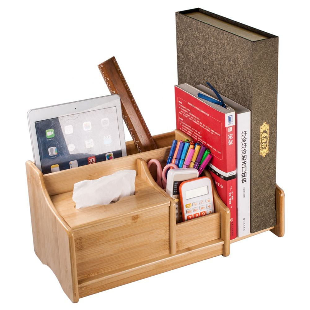 Eco Friendly Multifunction Office Stationery Bamboo Desk Organizer For Office School And Home