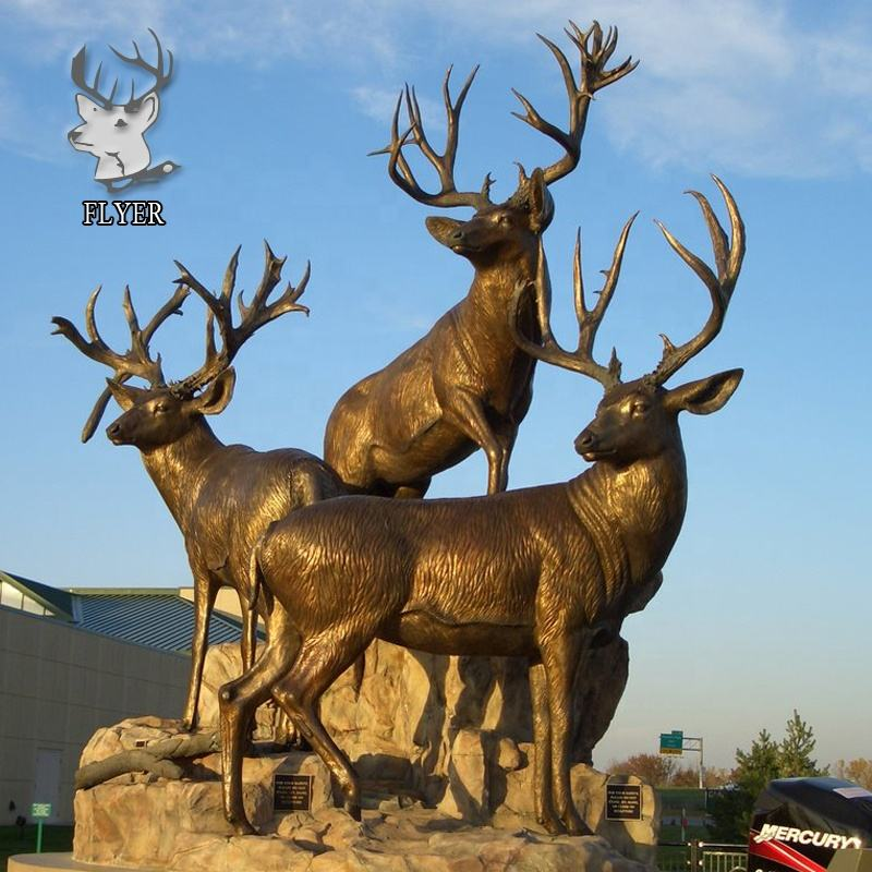 factory wholesale price custom handmade high quality life size bronze brass deer statue in sculpture for decoration