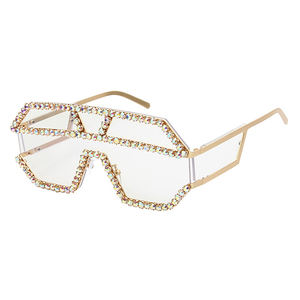 DLL4043 DL glasses 2020 New Design Oversized Metal Frame Eyewear Diamond Shades Rhinestone Bling Frame Woman Fashion Sunglasses