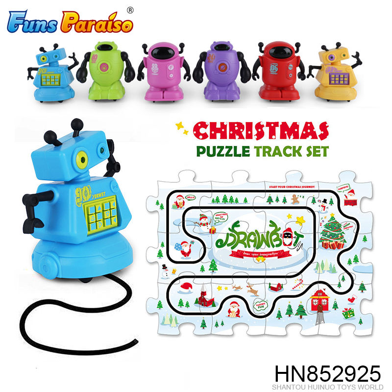Funny line follower Inductive drawbot christmas puzzle track toy HN852925