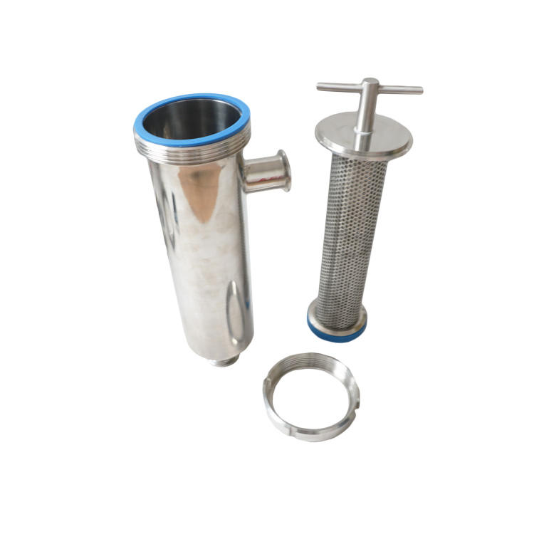 Sanitary Stainless Steel clamped Angle-type Strainer Filter With 30-300 Meshes Screen