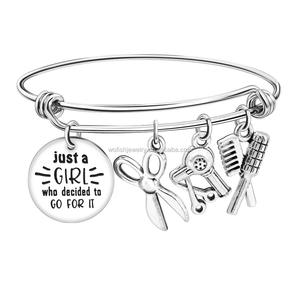 Engraved She believed disc charm birthstone Steel expandable bangle