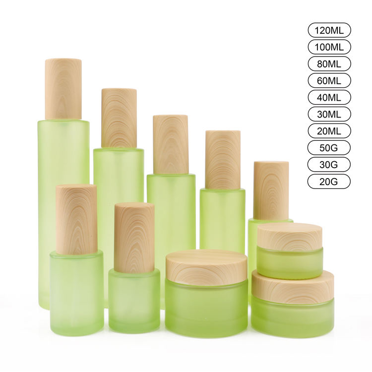 Luxury Empty 50g Glass Wooden Bamboo Cosmetic body Container 50 Ml 50ml 100g 100ml 1oz 4oz Green Packaging Wood Lid Cream Jar