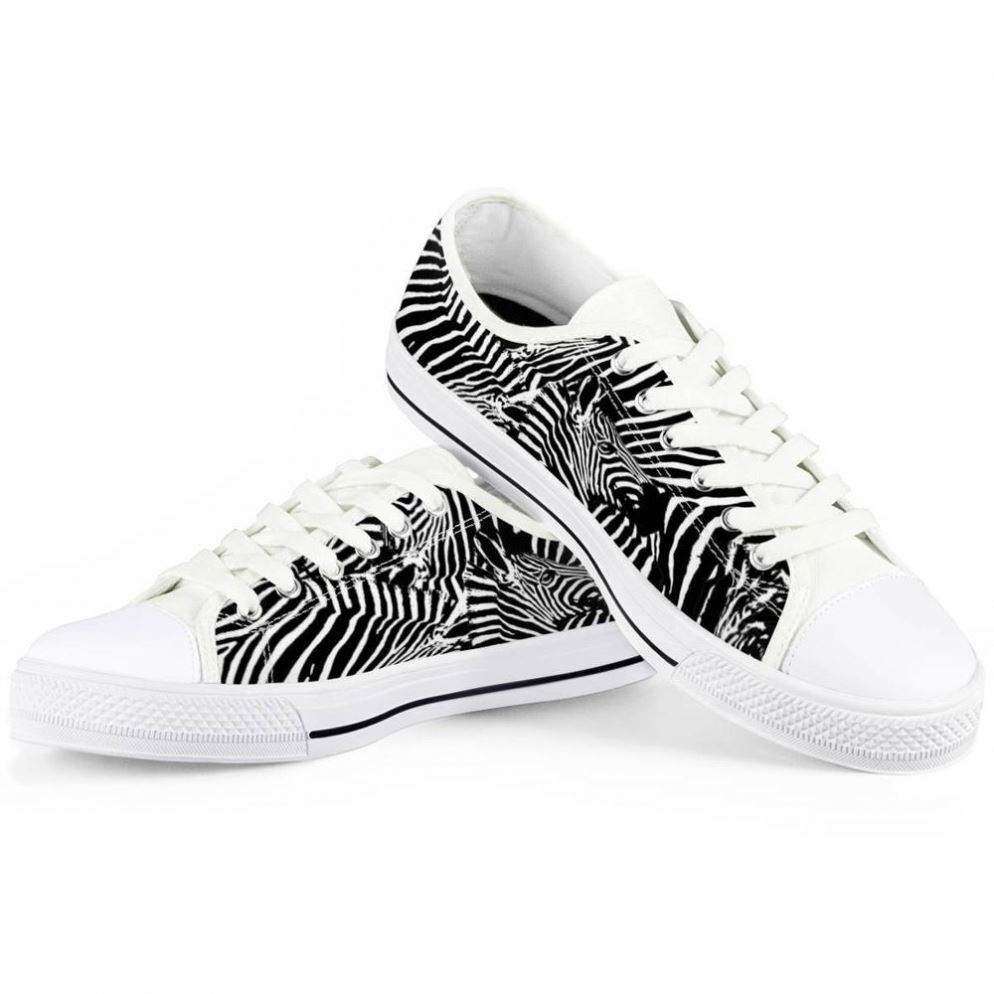 Wholesale Cheap Black White Zebra Pattern Comfortable Sneakers Casual Sport Shoes Fabric Canvas Shoes