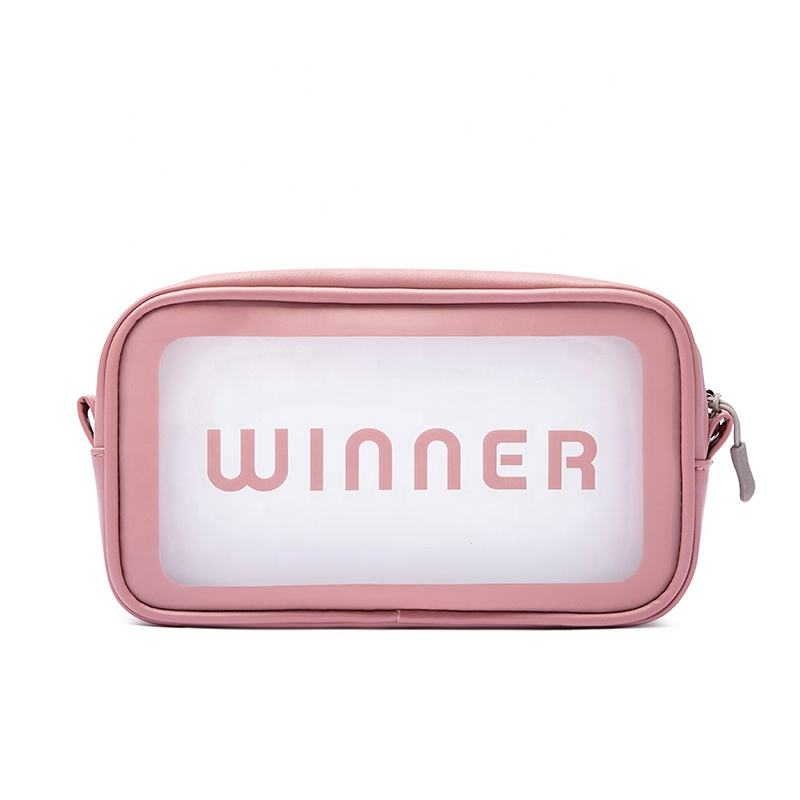 Amazon Hot Sell Private Label Pink Transparent Makeup Bag Travel Pu Clear Cosmetic Bag