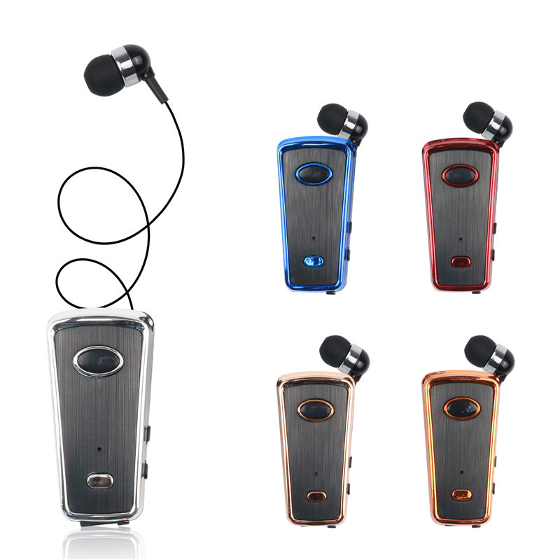 Clip-on Retractable Stereo Wireless Earphone Earbuds with Microphone for Business