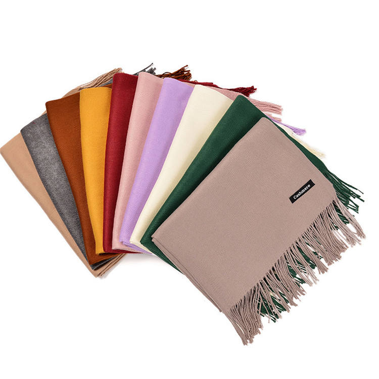 Wholesale 2019 hot sale big cashmere scarf high quality 36 colors cheap soft cashmere scarves with tassel
