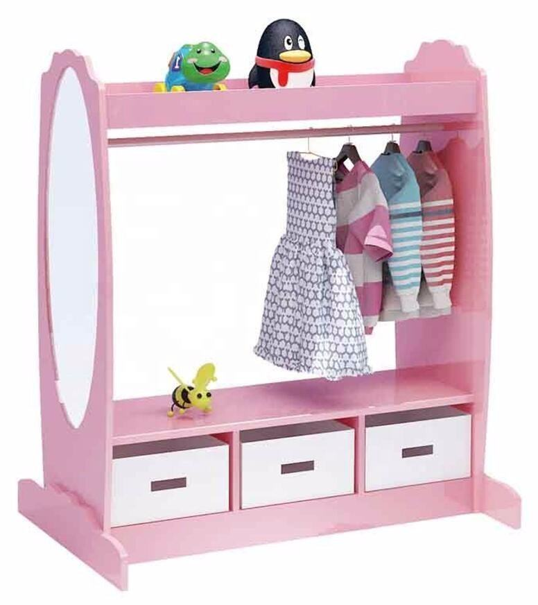 Multipurpose modern pink wood toddler children room kids bedroom clothing closet furniture set for girls