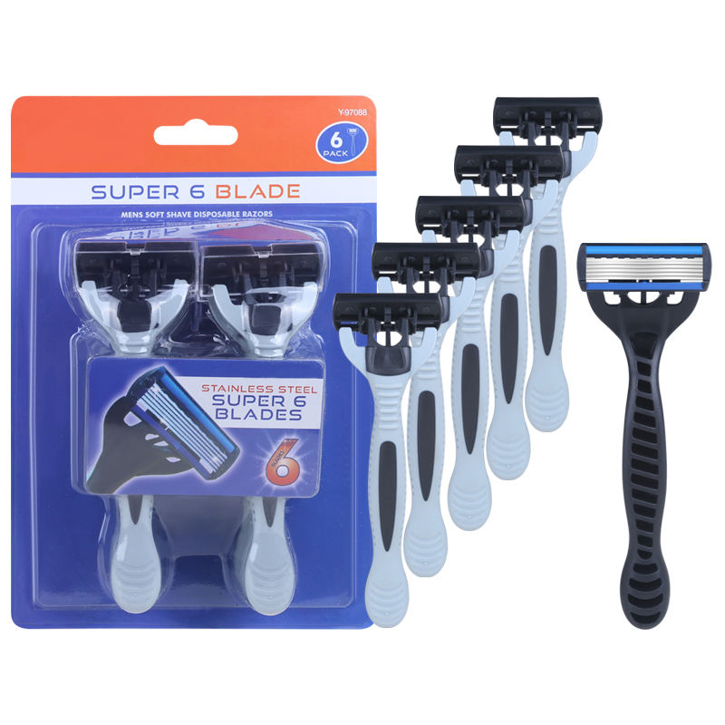 6 Blades Men Disposable Razor High Quality Germany Blade Shaving Razor 6pcs/Pack Male Razor With Lubricany Strip KL6-03