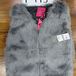 Girls Sleeveless Feather Jacket - Grey