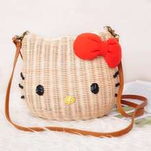 Hello kitty women handbags rattan straw beach bag 3 sizes cartoon character Handbags