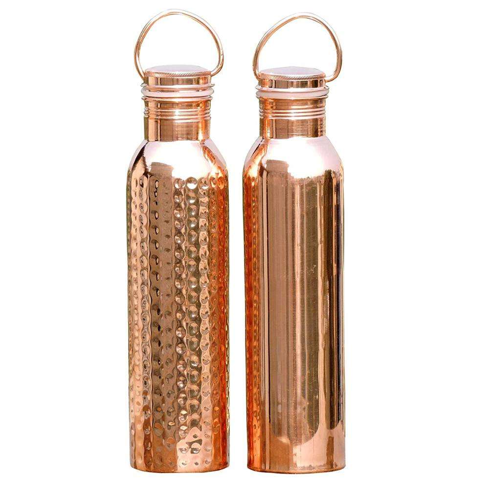 Set of Plain and Hammered Copper Water Bottle with Handle | Seamless Leak-Proof Water Bottle Set 1000 Ml