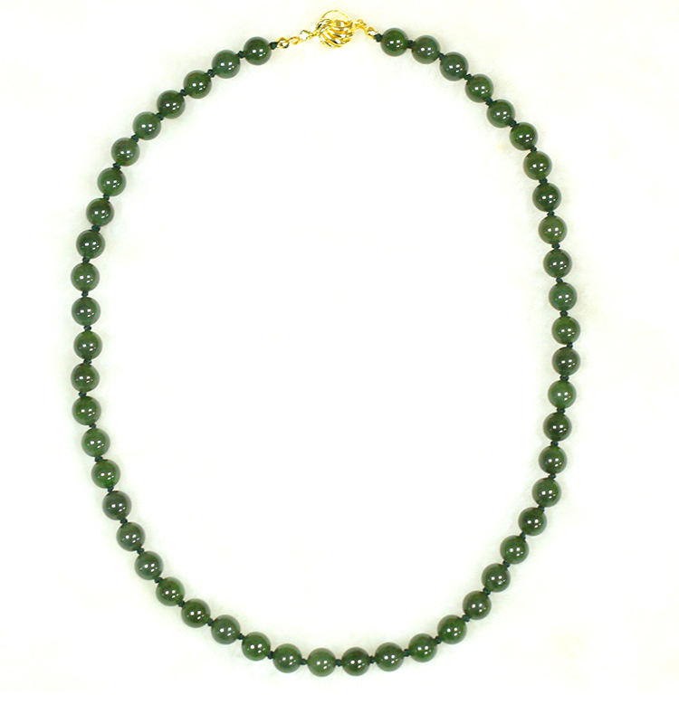 wholesale jewelry Women's Gender 8 mm 18 inch Natural Genuine Green Jade Beads Necklace
