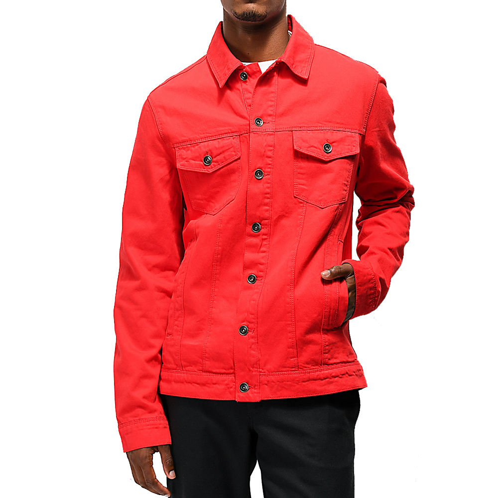 Fine Quality Jeans Denim Jackets In Red Color Double Brest Button Closer Men Jackets For Sale
