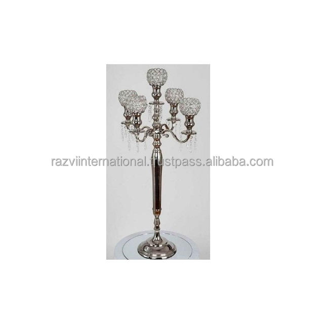 Metal aluminium nickle plated crystal candelabra