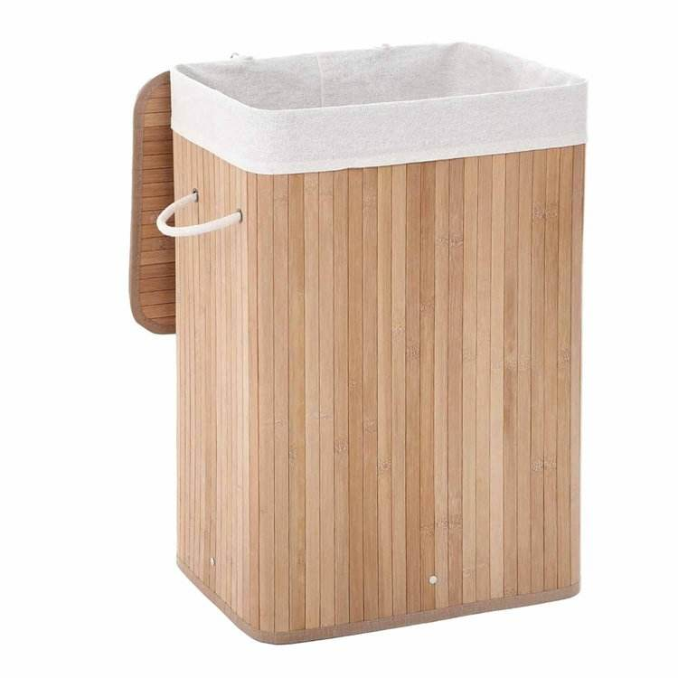 SONGMICS LCB10Y 72L Foldable Storage Hamper Natural Bamboo Laundry Basket with Removable Washable Lining