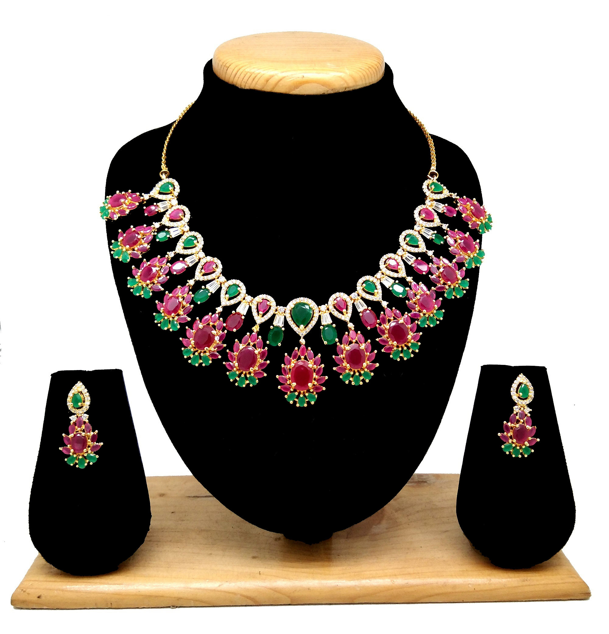 75632-Indian premium Gold Turkish Party Jewelry Sets CZ Ruby and Emerald Crystal Necklace by Alex
