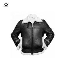 Professional Custom Quality breathable shear ling Genuine Leather Jacket For Men
