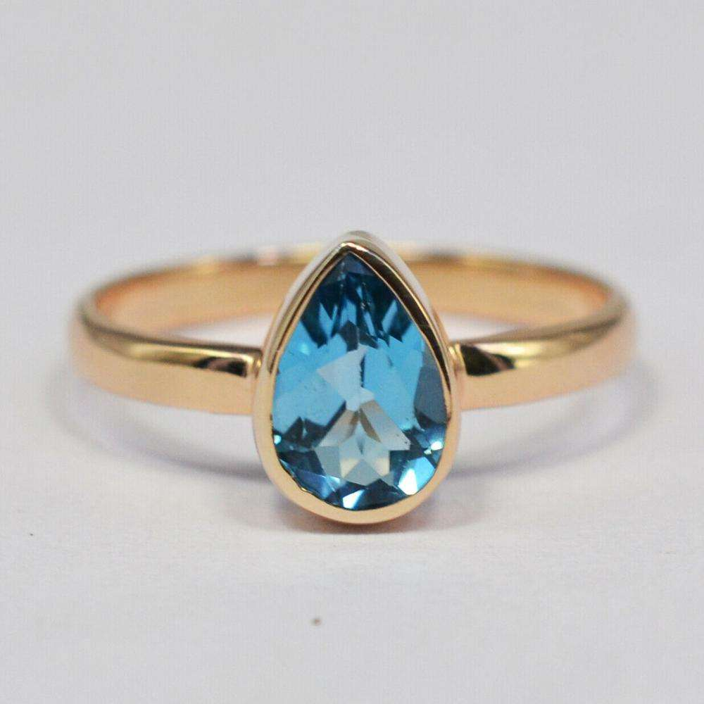 925 Sterling Silver Rose Gold Swiss Blue Topaz Gems Ring Jewelry beautiful woman's ring jewelry