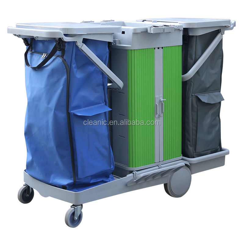 Quality multifunctional Storage Case Cleaning Housekeeping Trolley Cart with Two-tone Nylon Garbage Bag