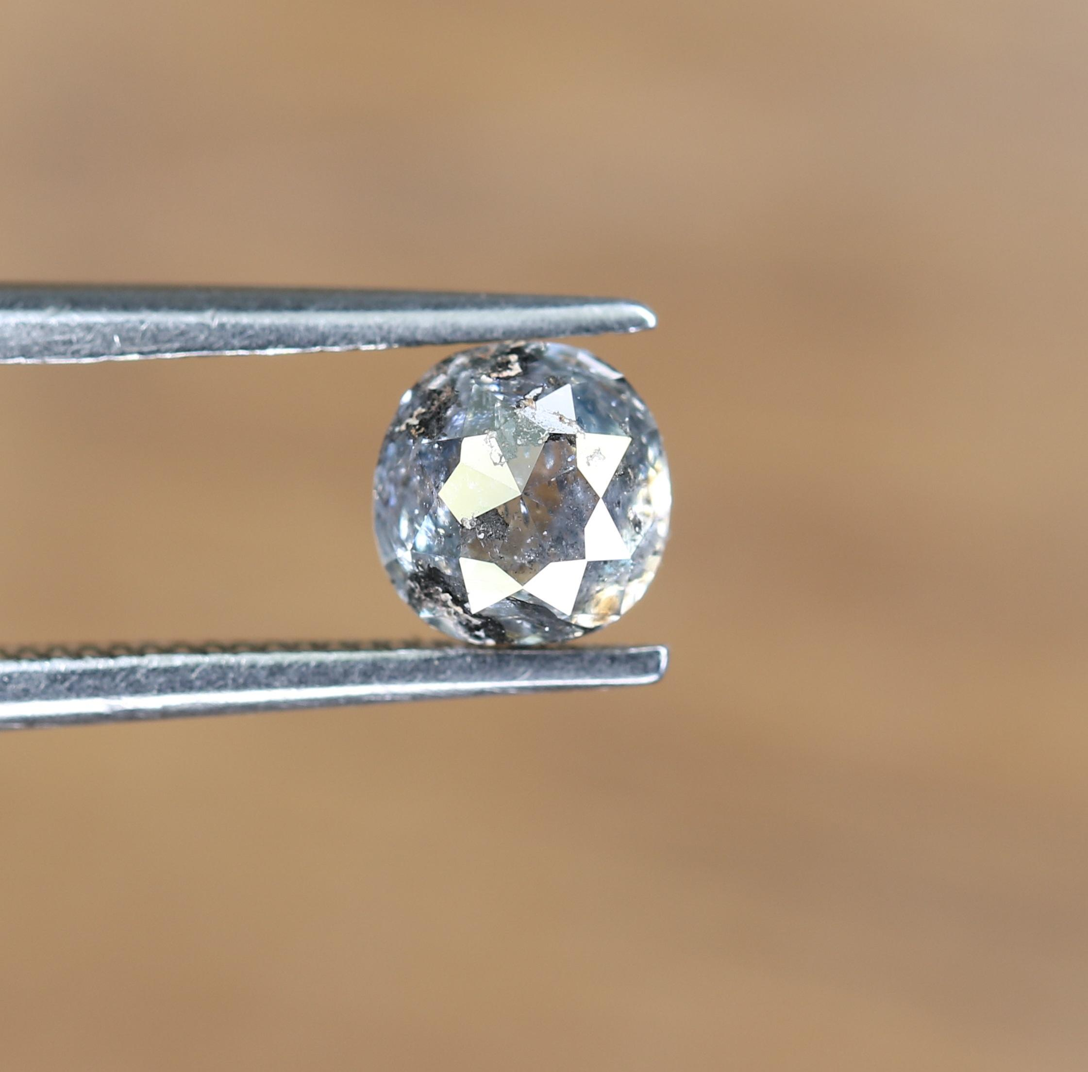 0.82 CT NATURAL SALT AND PEPPER CUSHION CUT LOOSE REAL DIAMOND BY JAYKRISHNA DIAMOND