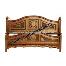 Wooden Carved Brass Inlay King Size Bed