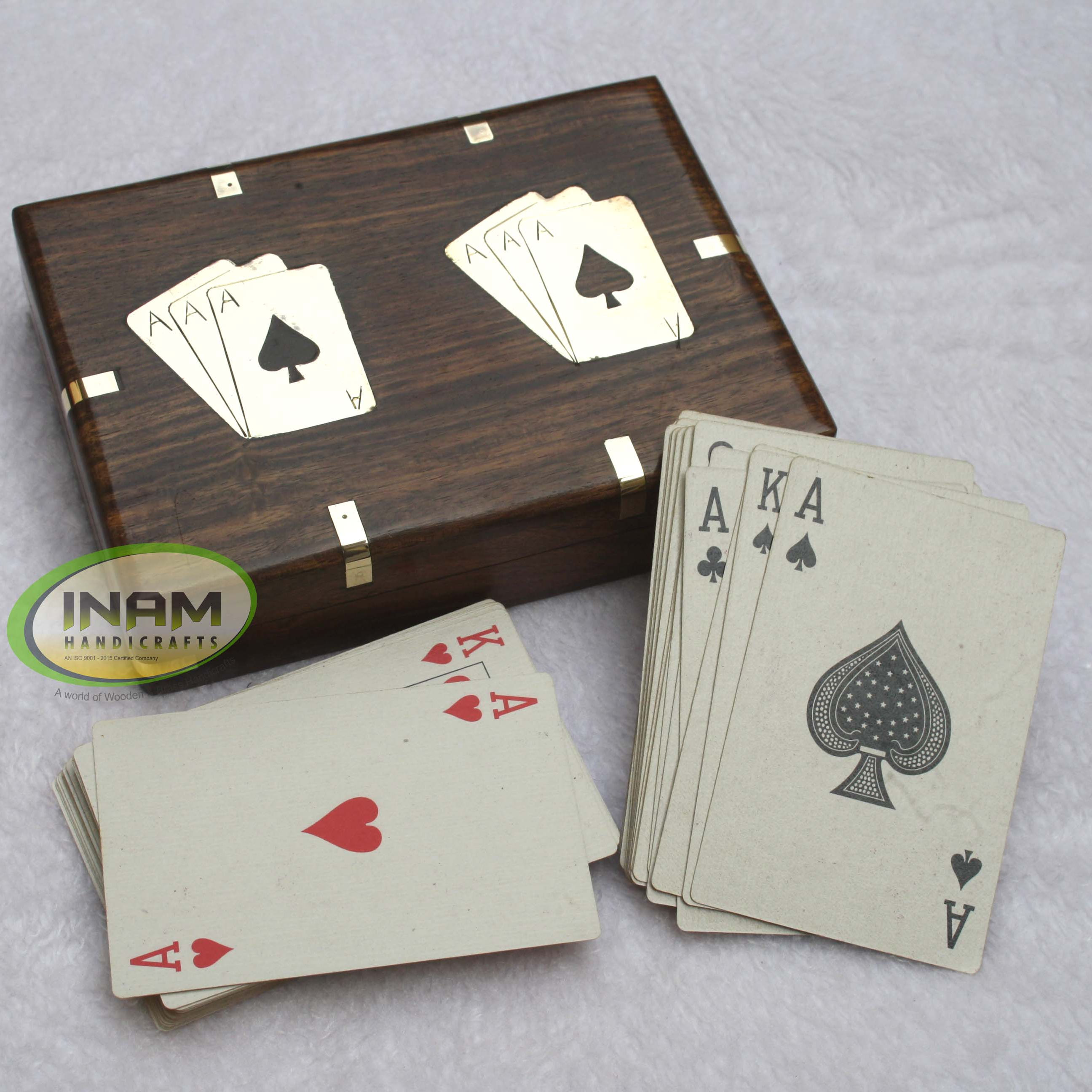 Extreme quality Exclusive design sheesham wood box with playing cards / Box size 6x4.5 inches